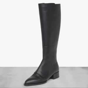 Vince | 5 Yilan Point Toe Leather Knee Boot black